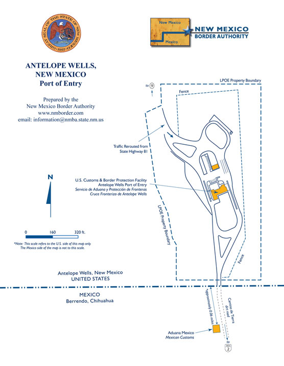 Antelope Wells Point of Entry Map